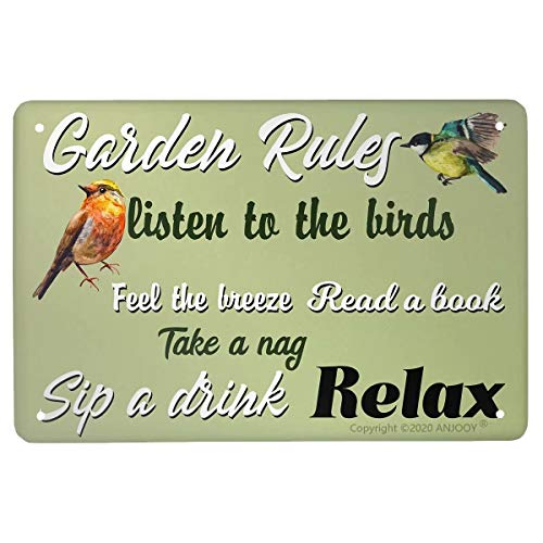 Retro Tin Signs Vintage Metal Sign Garden Rules Birds Plaque Poster for Home Coffee Funny Wall Decor Art 8 X 12 Inch