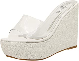 QUICKLYLY Sandalias Mujer Planas Plataforma Vestir Chanclas Planos Zapatos Baño Tacón Verano Fiesta 2018-2019,Mujer Ocio Cuñas Zapatos Gruesos Punta Redonda Zapatillas Transparentes