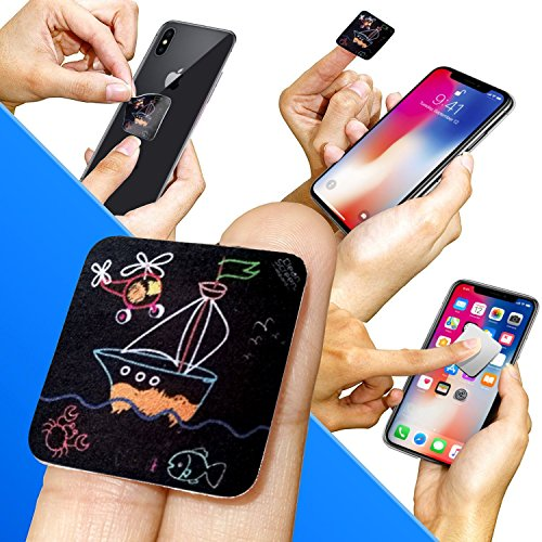 Clean Screen Wizard Microfiber Screen Cleaner Sticker, Handy Screen Cleaning for Cell Phone, iPhone, Samsung, Small Electronic Devices, Touch, Tech Gadgets, Stocking Stuffers, Gift Ideas