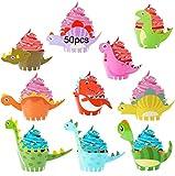 JAHEMU Cupcake Wrappers Dinosaurios Cupcake Topper Animales Envoltorio Cupcakes Cumpleaños Decoracion para Fiesta de los Niños, 50 PCS