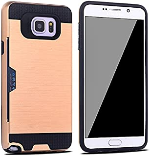 Galaxy Note 5 Case, SAVYOU Impact Resistant Protective Shell Hard PC Case + Soft TPU Bumper Cover with Card Holder Slot for Samsung Galaxy Note 5 (Gold)