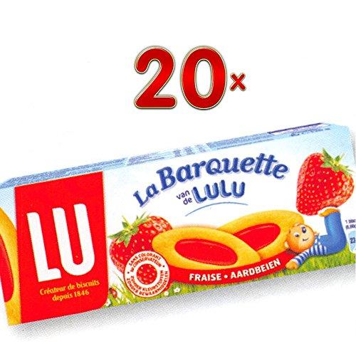 LU La Barquette van de Lulu Fraise 20 x 120g Packung (Keks mit Erdbeerfüllung)