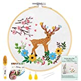 Pllieay Deer Pattern Embroidery Starter Kit with Instructions, Include Embroidery Clothes, Bamboo Embroidery Hoops, Color Threads and Tool