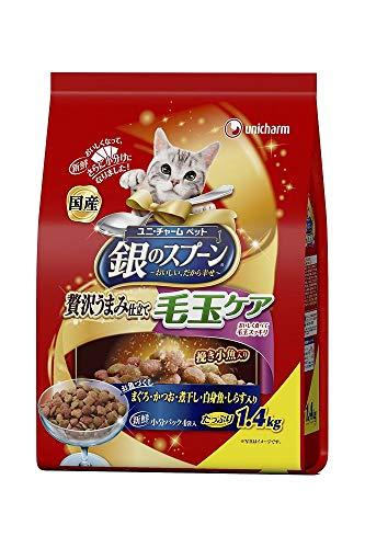 (まとめ買い)ユニ・チャーム 銀のスプーン 贅沢うまみ仕立て 毛玉ケアお魚づくし 1.4kg 猫用 【×3】