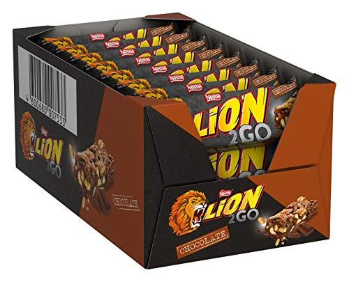 Nestlé LION 2GO Chocolate, Schokoriegel mit Erdnüssen, Rosinen & Schokoladenstückchen, Karamell, das besondere Beißerlebnis to go, 24er Pack (24 x 33g)