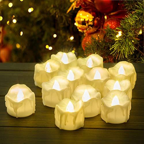 LED Kerzen mit Timer, PChero 12 Stück LED Elektrische Teelichter Flackernde Kerze Beleuchtung mit Batterie, Automatische Timerfunktion: 6 Stunden an und 18 Stunden aus für Weihnachten Deko [warmweiß]