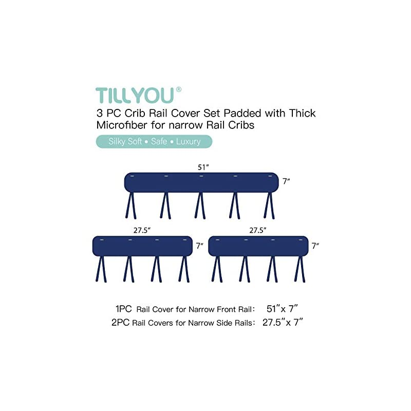 crib bedding and baby bedding tillyou 3-piece padded baby crib rail cover protector set from chewing, safe teething guard wrap for standard cribs, 100% silky soft microfiber polyester, fits side and front rails, navy