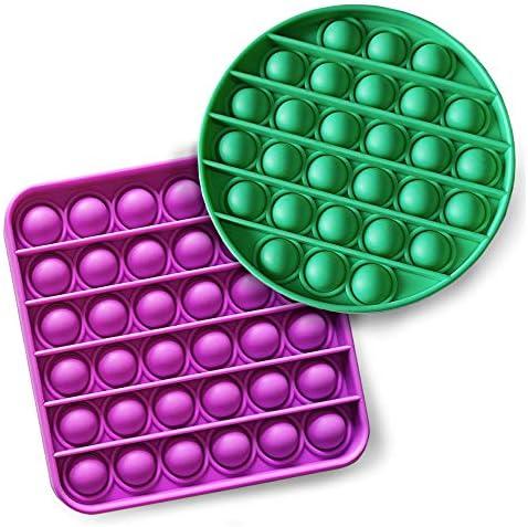 iBaste 2PCS Push Pop Pop Bubble Sensory Fidget Toy, One Louder Side Push Bubbles Pop, Pop Bubble Sensory Fidget Toy, Last One Lost Stress Reliever Autism Octagon Toy Anti-Anxiety Toys Rainbow