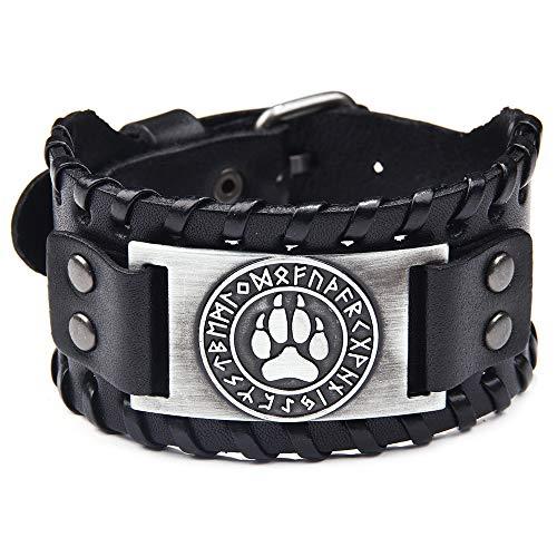 Pulsera de piel negra de plata envejecida, diseño de pata de lobo vikingo, runa nórdica, pulsera de piel para hombre, estilo punk retro, joyería para hombre