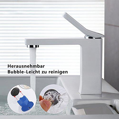 Homelody – Design-Waschbeckenarmatur, Einhebelmischer, ohne Ablaufgarnitur, Weiß - 5