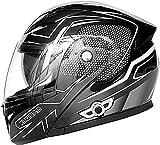 XLYYHZ Casco Moto apribile Bluetooth, Doppia Visiera modulare Touring Caschi da Motocross integrali Approvati DOT Auricolare Bluetooth a Doppio Altoparlante Integrato con Microfono C, XXL63-64cm