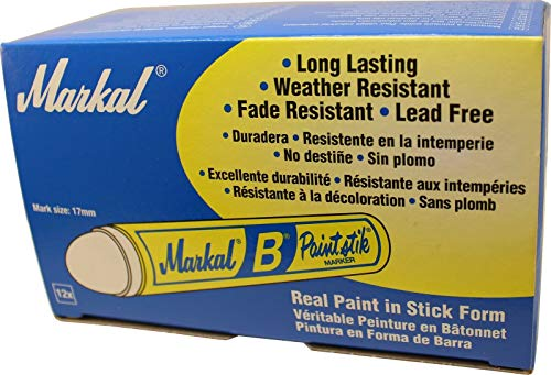 Markal Box of 12 B White Tire Chalk Paintstik Crayon Surface Marker Graffiti Paint Sticks Paintstick