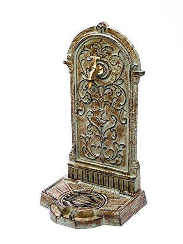 aubaho Standbrunnen 64cm 11kg Waschbecken Brunnen Eisen grün Wandbrunnen antik Stil