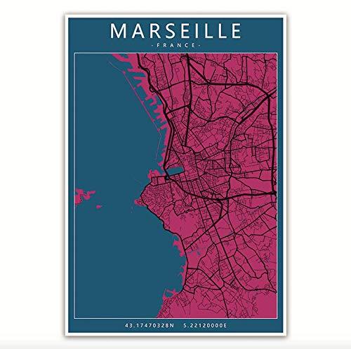 Impresión De La Lona Francia Marsella Mapas De La Ciudad Pinturas En Lienzo Mapa Colorido Carteles Antiguos Impresiones Artísticas Decoración Para El Hogar Regalo, Como Se Muestra, 30X42Cm Sin Ma