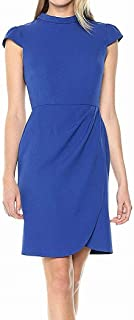 Lark & Ro Womens Dress Cobalt Blue US 4 Sheath Ruched Tulip Sleeveless