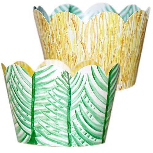 Tropical Cupcake Wrappers - 36 Reversible | Jungle Safari Baby Shower| Grass Skirt, Palm Leaves | Dinosaur Party Supplies, Hawaiian Luau Party Decorations, Tiki Decor