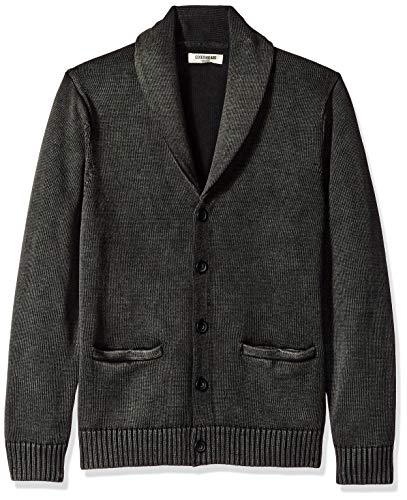 Amazon Brand - Goodthreads Men's Soft Cotton Shawl Cardigan, Washed Black, XX-Large