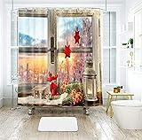 AJ WALLPAPER 3D Navidad lámpara de aceite ventana 342 cortina de ducha impermeable fibra resistente al agua baño ventanas WC Reino Unido Zoe (tamaño personalizado (mensaje eBay nos))