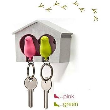 VOSAREA Llavero con forma de casa de p/ájaros silbato y pajarera con forma de anillo color marr/ón y amarillo