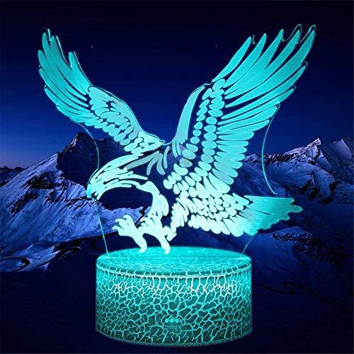Luz nocturna 3D ilusión óptica 3D, águila, 16 colores, regulable, control táctil con mando a distancia para niños y niñas