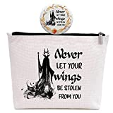 Friends Gift for Women, Inspirational Birthday Christmas Gifts for Her Best Friend Bestie Sister Daughter, Halloween Witch Gift, Never Let Your Wings Be Stolen from You, Makeup Bag