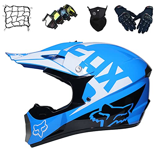 Aidasone Casco Moto, Conjunto de Casco de Motocross para Niños con Diseño Fox (Gafas/Guantes/Máscaras/Red Bungy), Casco Unisex de Integral para Motocicleta Todo Terreno, Azul,L
