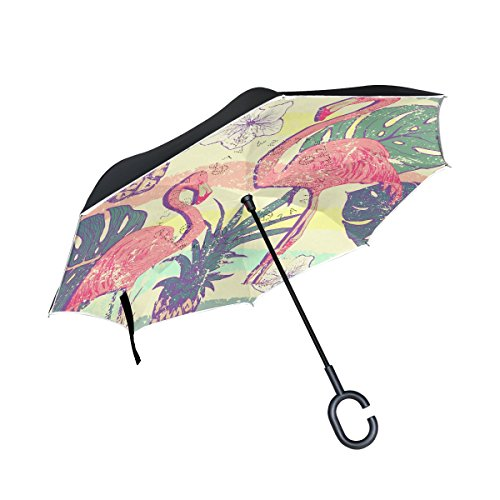 ISAOA Große Schirm Regenschirm Winddicht Doppelschichtige Konstruktion seitenverkehrt Faltbarer Regenschirm für Auto Regen Außeneinsatz, C-förmigem Henkel hinhängen Flamingo Gemälde Regenschirm