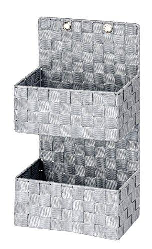 WENKO 22072100 Organizer Adria Grau zum Hängen, Badkorb, 2 Etagen, Polypropylen, 25 x 48 x 15.5 cm, Grau