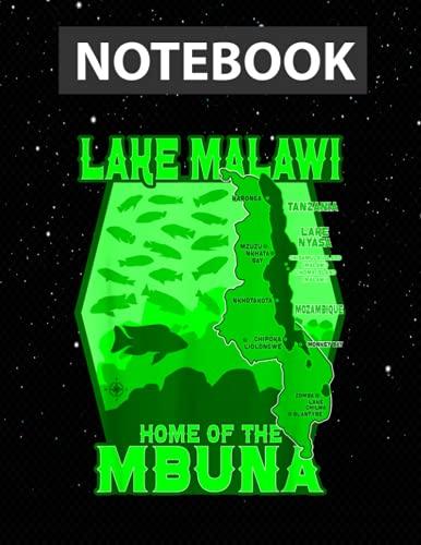 Lake Malawi Africa Cichlids Aquarium Fish Mbuna Peacock / Notebook Journal Line / Large 8.5''x11''
