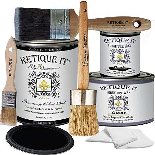 Retique It Chalk Furniture Paint by Renaissance Deluxe Starter Kit, Wax, 08 Midnight Black, 8 Piece...
