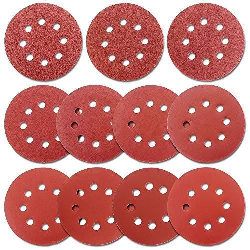 5-Inch Hook and Loop Sanding Discs for Random Orbital Sander, Assorted Sandpaper 40-1000 Grits, 110 PCS