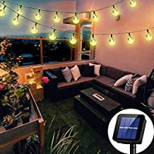 Solar String Lights Globe 38 Feet 66 Crystal Balls Waterproof LED Fairy Lights 8 Modes Outdoor Starry Lights Solar Powered String Light for Garden Yard Home Party Wedding Decoration (Warm White-66LED)
