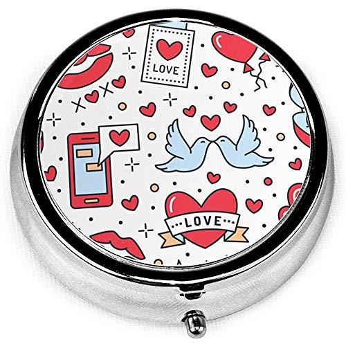 Herzen Verlobungsring Kuss Tragbare Vitamin Medizin Runde Pille Fall, Geldbörse Tasche Pille Boxen Organizer mit 3 Fächern