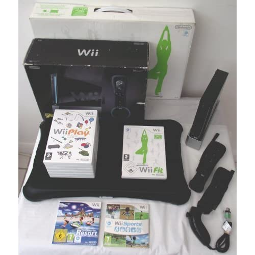 pretty nice d70dd 35fd1 Nintendo Wii Console Black Sports Resort Edition(Includes Wii Sports Resort  and Wii Sports)