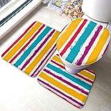 Juego de alfombras de baño Líneas de pintura Patrón sin costuras Conjunto de alfombrillas de baño antideslizantes a rayas de vector, cubierta de almohadilla de baño Alfombrilla de baño y tapa de ino