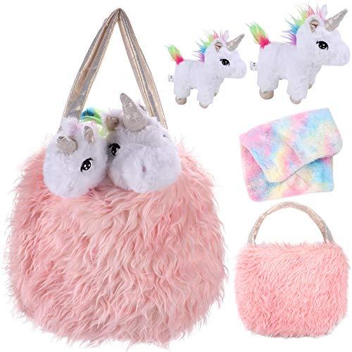 Tacobear Peluche Unicornio Juguete con Peluche Unicornio Bolso de Felpa Juego de Roles de bebé y mamá Unicornio Regalo Navidad Cumpleaños para Niñas 3 4 5 6 7 años