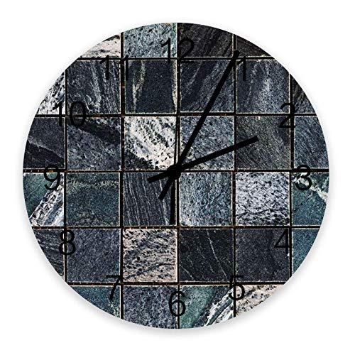 Reloj de pared redondo de madera de 10 ', silencioso, funciona con pilas, sin tictac, mosaico de mosaico de azulejos, silencioso, oficina, cocina, dormitorio, reloj de pared, decoración del hogar, tex
