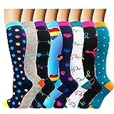 Calcetines de compresión para mujeres y hombres: los mejores calcetines médicos, para correr, enfermería, circulación y recuperación, senderismo, viajes y vuelo, 20-25 mmHg B5-multicolor-8 pares,S/M