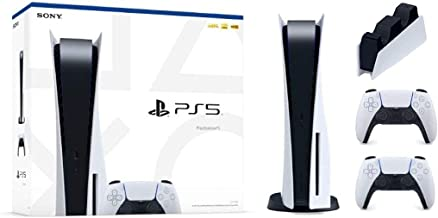 $1349 » TIVDIO PS5_by_Playstation Bundle 2021 Console 825 SSD Disc Edition with Two Wireless Controllers Fast Charger for Two Cont...