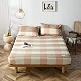 haiba Sábana bajera o fundas de almohada de franela de algodón cepillado, térmica, suave y acogedora, 150 x 200 + 40 cm