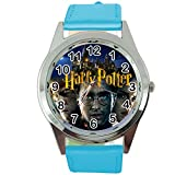 Taport Quarzuhr mit Harry Potter, rund, blaues Lederband E2, inklusive Ersatzakku und Geschenkbeutel