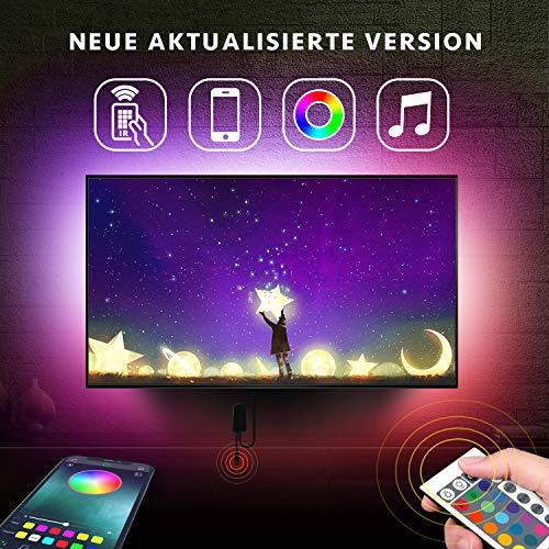 Led TV Hintergrundbeleuchtung, 2m APP-Steuerung TV LED-Hintergrundbeleuchtung RGB LED-Streifen USB betrieben für 24-Zoll-60-Zoll-TV, Spiegel, PC, Vorspannungsbeleuchtung, für Android iOS