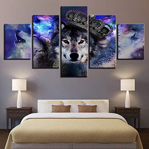 FGVBWE4R Dekoration Poster Modulare Bild Wand Kunst Home 5 Panel Tier Wolf Wohnzimmer HD Gedruckt Moderne Malerei auf Rahmen Canvas-XXL