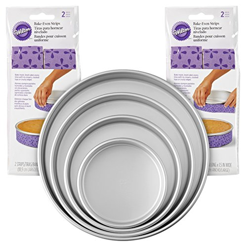 Wilton Bake-Even Strips and Round Cake Pan Set, 8-Piece - 6, 8, 10, and 12 x 2-Inch Aluminum Cake Pans