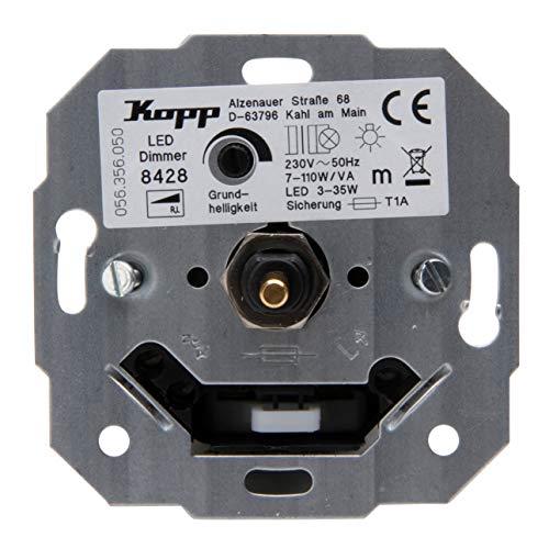 Kopp LED Dimmer Sockel (Phasenanschnittsdimmer) mit Druck-Wechselschalter für dimmbare 230V LEDs von min. 3 bis max. 35 W sowie Glüh-, 230V Halogenlampen und Niedervolt-Halogenlamen mit konventionellen Trafos von min. 7 bis max. 110W/VA, 842800187