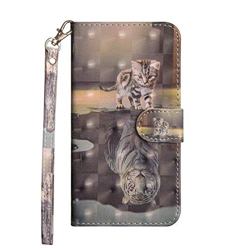 Sunrive Hülle Für Nokia 6.1 Plus, Magnetisch Schaltfläche Ledertasche Schutzhülle Hülle Handyhülle Schalen Handy Tasche Lederhülle(Tiger & Katze)+Gratis Universal Eingabestift