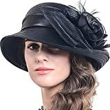 FORBUSITE Church Hats for Women Tea Party Dress Hat for Ladies Black