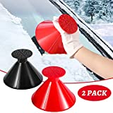 RUN STAR Ice Scraper, Snow Remover, Windshield Round Ice Scraper for Car Windshield Window Mirror, Snow Removal,Cone-Shaped Ice Scraper with Funnel and Ice Breaker 2 Pack