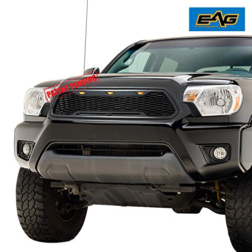 EAG Replacement Upper ABS Grille Front Grill with Amber LED Lights - Charcoal Gray Fit for 12-15 Tacoma