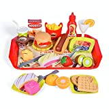 FUN LITTLE TOYS 40 PCs Play Food for Kids Kitchen, Play Kitchen Accessories, Toy Foods with Cutting Fruits and Fast Food for Pretend Play